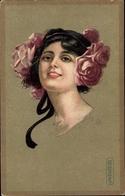 Artiste Cp Colombo, E., Frauenportrait, Rosen Im Haar - Illustrators & Photographers