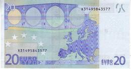 20 Euros 2002 Serie X, P016I5, N° X 3149583577,  Signature 2 UNC - EURO