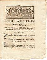 DECRET Concernant L'ADMINISTRATION Des POSTES Du 8 Août 1790 - Decrees & Laws