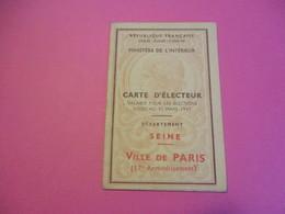 Carte D'Électeur/République Française/Ministère De L'Intérieur/Département De La Seine/Ville De Paris/1946     ELECT31 - Ohne Zuordnung