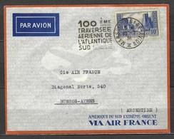 Centième Traversée Aérienne De L'atlantique Sud, En 1936 Via Air France - Poste Aérienne