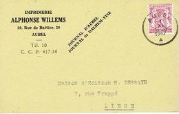 Carte Postale Publicitaire AUBEL 1947 - ALPHONSE WILLEMS - Imprimerie - Journal D'Aubel - Journal De DALHEM-VISE - Aubel