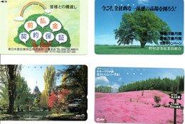 4 Télécartes Japon Japan Fleur Fleurs Arbre Tree Arbres (D 529) - Fleurs
