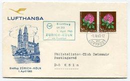 RC 12876 ALLEMAGNE 1965 FFC ZURICH - KOLN 1ER VOL LUFTHANSA SWIZERLAND GERMANY TB - Briefe U. Dokumente