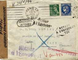 """Juillet 40 - Env. De Paris Pour Madrid ( Espagne ) """" Inconnu """" Bilingue - 3 Retour Dont  Retour 726  - Censure Espagnole - Postmark Collection (Covers)"""