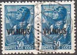 1941 -:- Occupation Allemande En Lituanie - Emission De VILNO - Oblitérés - Surchargés - Paire - - 1941-43 Occupation: Germany