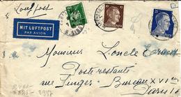 1942- Enveloppe D'Allemagne Pour Paris En Poste Restante - Usage D'un T P Pétain 50 C ( Manque De Taxe ? ) Au Bureau XVI - Postmark Collection (Covers)