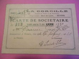 Carte D'Association/ Sociétaire/Société De Pêche Et De Tourisme/La CORCILLE/Poirier/ NEVERS/1930   CHAS15 - Mappe