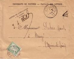 VIENNE - POITIER GARE - UNIVERSITE DE POITIERS - SIGATURE DU DOYEN - TAXE 15c - A BAUGE - MAINE ET LOIRE - 29-9-1904. - Lettres Taxées