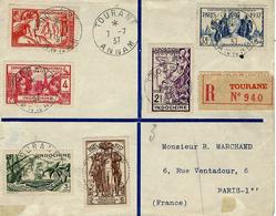 1937- Enveloppe De TOURANE / ANNAM  Affr.  T P Expo Intern. De Paris 1937 Série Complète - Indochine (1889-1945)