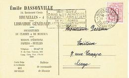 CP Publicitaire BRUXELLES 1954 - Emile DASSONVILLE - Librairie - Maison D'éditions - Belgique