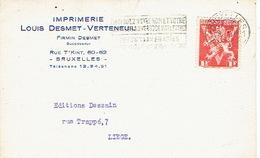 CP Publicitaire BRUXELLES 1952 - Imprimerie Louis DESMET - VERTENEUIL - Belgique