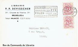 CP Publicitaire BRUXELLES 1959 - Librairie P. P. DEVISSCHER - Belgique