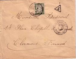 SEINE INFERIEURE - CRIEL SUR MER - TAXE 20c - A CLERMONT-FERRAND - PUY DE DOME - 4-12-1916 - Lettres Taxées