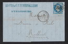 Cachet Type 16 STRASBOURG  (67 Bas Rhin) 1867,GC 3465,Aff 20c Lauré Piquage Décalé,,très Très Beau - Marcophilie (Lettres)