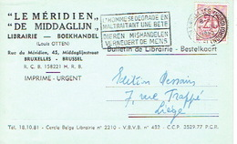 """CP Publicitaire BRUXELLES 1953 - LIBRAIRIE """"LE MERIDIEN"""" - Boekhandel """"DE MIDDAGLIJN"""" - Louis OTTEN - Belgique"""