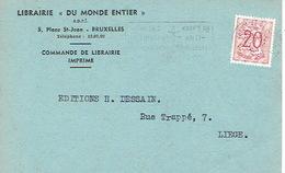"""CP Publicitaire BRUXELLES 1953 - LIBRAIRIE """"DU MONDE ENTIER"""" - Belgique"""