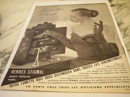 ANCIENNE PUBLICITE LUNETTE  ETOILE 1952 - Habits & Linge D'époque