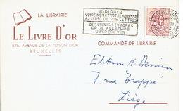 """CP Publicitaire BRUXELLES 1954 - LIBRAIRIE """"LE LIVRE D'OR"""" - Belgique"""