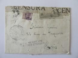 Italie Vers France - Enveloppe Recommandée Avec Censure Italienne - Janvier 1919 - Marcofilía