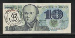 POLAND SOLIDARNOSC SOLIDARITY OVERPRINTED OFFICIAL 10ZL BANK NOTE PRISTINE MARTIAL LAW PROTEST - Polen