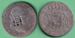 1823-MN-1 SPAIN ESPAÑA 1823 FERNANDO VII 2r MADRID CONTRAMARCA TRINIDAD COUNTERMARK. - Cuba