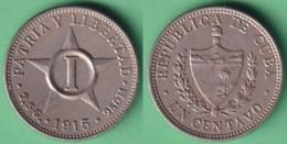 1915-MN-137 CUBA REPUBLICA 1915 1c NICKEL STAR ESTRELLA RADIANTE. - Cuba