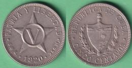 1920-MN-125 CUBA REPUBLICA 1920 5c COPPER-NICKEL STAR ESTRELLA RADIANTE. - Cuba