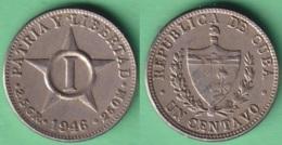 1946-MN-112 CUBA REPUBLICA 1946 1c COPPER-NICKEL STAR ESTRELLA RADIANTE. - Cuba