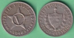 1946-MN-113 CUBA REPUBLICA 1946 5c COPPER-NICKEL STAR ESTRELLA RADIANTE. - Cuba