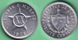 1971-MN-2 CUBA 1971 20c ALUMINIUM STAR ESTRELLA RADIANTE XF. - Cuba