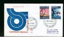 ITALIA -  FDC  VENETIA  1968  - CAMPIONATI MONDIALI CICLISMO SU PISTA  - Raccomandata Con Timbro Di Arrivo - 6. 1946-.. Repubblica