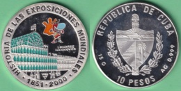 2000-MN-1 CUBA 2000 10$ SILVER AG PROOF UNC GERMANY EXPO HANNOVER FAIR. 15gr. - Cuba