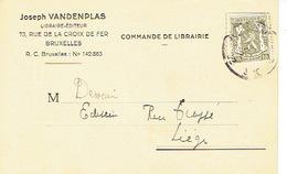 CP Publicitaire BRUXELLES 1953 - Joseph VANDENPLAS - Libraire - Editeur - Belgique