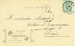 CP Publicitaire CINEY 1900 - LATOUR-BEUGNIES - Imprimerie - Librairie - Reliure - Ciney
