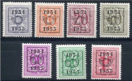 Belgica Sobreimpresos 645/651 ** 1954 A 1955 - Sobreimpresos 1951-80 (Chifras Sobre El Leon)
