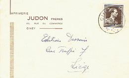 CP Publicitaire CINEY 1953 - Imprimerie JUDON Frères - Ciney