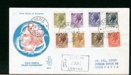 ITALIA -  FDC  VENETIA 1968  -  TURRITA Con Valori Fluorescenti   -  RACCOMANDATA   Con Timbro Di Arrivo - 6. 1946-.. Repubblica