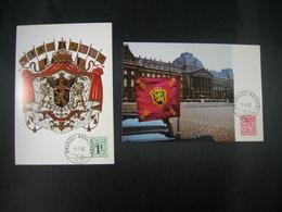 "BELG.1982 2050 & 2051 FDC Maxicards : ""Chiffre Sur Lion Héraldique /Cijfer Op Heraldieke Leeuw "" - 1981-90"
