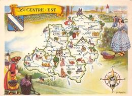 """Carte Publicitaire - Le Cirage """" LION NOIR """" - Les Provinces Françaises """" Le Centre-Est """" - Illustrateur """"J.A Dupuich"""" - Publicité"""