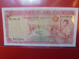 CONGO BELGE 50 FRANCS 1957 CIRCULER (B.2) - [ 5] Congo Belga