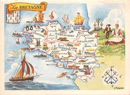 """Carte Publicitaire - Le Cirage """" LION NOIR """" - Les Provinces Françaises """" La BRETAGNE """" - Illustrateur """"J.A Dupuich"""" - Publicité"""