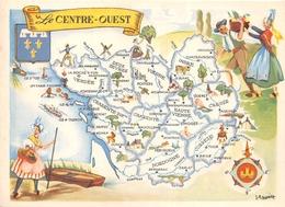 """Carte Publicitaire - Le Cirage """" LION NOIR """" - Les Provinces Françaises """" Le Centre-Ouest """" - Illustrateur """"J.A Dupuich"""" - Publicité"""