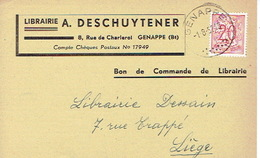 CP Publicitaire GENAPPE 1952 - A. DESCHUYTENER - Librairie - Genappe