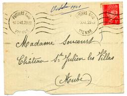 France N° 514 Y. Et T. Vienne Poitiers Gare Empreinte Krag Du 10/10/1941 Ind 0 - 1921-1960: Modern Tijdperk