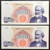 1000 LIRE VERDI I° TIPO 05 07 1963 N.C. 2 Esemplari Consecutivi Spl  Naturale LOTTO 2538 - 1000 Lire