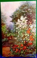 CPA  TUCK ILLUSTRATEUR  JARDIN EN FLEURS SIMILI PEINTURE HUILE  FLOWERS IN GARDEN  OLD PC  OIL PAINTING A/s L PRESSLAND - Blumen