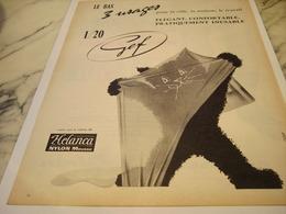 ANCIENNE PUBLICITE LE BAS 3 USAGES DE GEF 1957 - Habits & Linge D'époque
