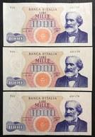 1000 LIRE VERDI I° TIPO 14 07 1962  Q.spl 3 Esemplari Consecutivi LOTTO 2539 - [ 2] 1946-… : Repubblica