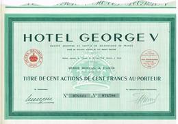 Ancien Titre - Hôtel Georges V - Société Anonyme - Titre De 1939 - Tourisme